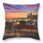 Prague At Dusk Throw Pillow