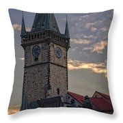 Prague Old Town Hall Throw Pillow