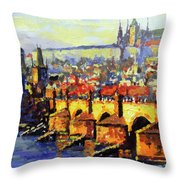 Prague Panorama Charles Bridge Throw Pillow