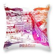 Prague Skyline Panorame Throw Pillow