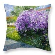 Prague Spring Loreta Lilacs Throw Pillow
