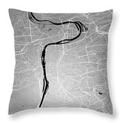 Prague Street Map - Prague Czech Republic Road Map Art On Colore Throw Pillow