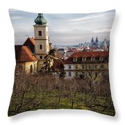 Prague View From The Gardens Throw Pillow