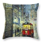 Praha Red Tram Mostecka Str  Throw Pillow