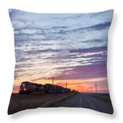 Prairie Sunrise With Train Throw Pillow
