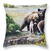 Prairie Black Bears Throw Pillow by Aaron Spong