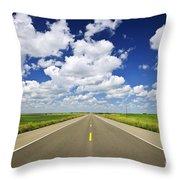 Prairie Highway Throw Pillow by Elena Elisseeva