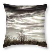 Prairie Winter Sky Throw Pillow