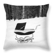 Pram In The Snow Throw Pillow