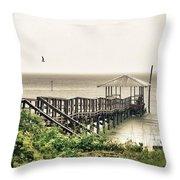 Prange Street Pier Raining Throw Pillow