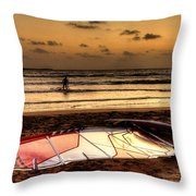 Prasonisi - A Day Of Windsurfing Is Over Throw Pillow