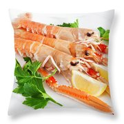 Prawns With Lemon And Parsley  Throw Pillow