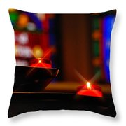Prayer Candles Trinity Cathedral Pittsburgh Throw Pillow by Amy Cicconi
