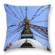 Prayer Flags And Stupa In Kathmandu Throw Pillow