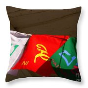 Prayer Flags Throw Pillow by Angela Wright