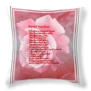 Prayer Of St. Francis And Pink Rose 2 Throw Pillow