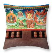 Prayer Wheels And Paintings Throw Pillow