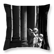 Praying Angle - Sucre Cemetery In Black And White Throw Pillow