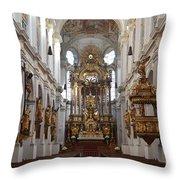 Praying At Munich Church Germany Throw Pillow