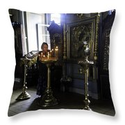 Praying At The Convent - Moscow - Russia Throw Pillow by Madeline Ellis