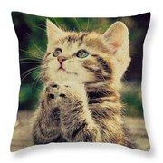 Praying Cat Throw Pillow