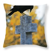 Praying Crow On Cross Throw Pillow
