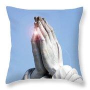 Praying Hands Lens Flare Throw Pillow