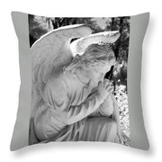 Praying Male Angel Near Infrared Black And White Throw Pillow