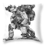 Praying  Soldier  Throw Pillow by Murphy Elliott