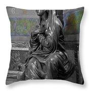 Praying Statue In Chantilly Throw Pillow