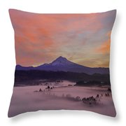 Pre Sunrise Over Mount Hood Panorama Throw Pillow