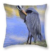 Preening By The Pond Throw Pillow