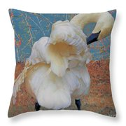 Preening Swan With Berries Throw Pillow