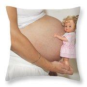 Pregnant Woman  Throw Pillow