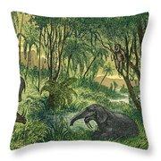 Prehistoric, Miocene Landscape Throw Pillow