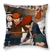 Preparing For The Snowball Fight Throw Pillow
