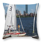 Preparing To Sail In The City. Throw Pillow