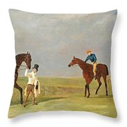 Preparing To Start For The Doncaster Gold Cup 1825 Throw Pillow