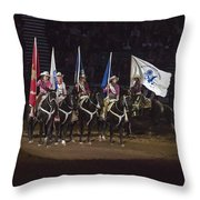 Presenting The Colors On Horseback Throw Pillow