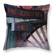 Preservation Hall Sign Throw Pillow