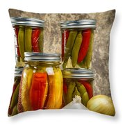 Preserved Peppers Throw Pillow