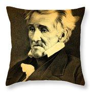 President Andrew Jackson Portrait And Signature Throw Pillow