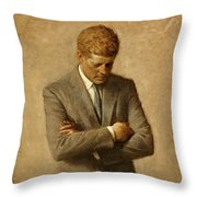 President John F. Kennedy Official Portrait By Aaron Shikler Throw Pillow