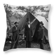 President Lincoln At Antietam Throw Pillow