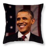 President Obama Throw Pillow by Mim White