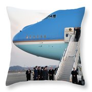 President Obama, Osan Air Base, Korea Throw Pillow