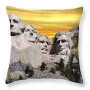 President Reagan At Mount Rushmore Throw Pillow