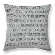 President Truman's Dedication To World War Two Vets Throw Pillow