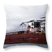 Presque Isle Freighter Throw Pillow