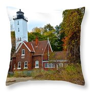 Presque Isle Lighthouse Throw Pillow by Frozen in Time Fine Art Photography